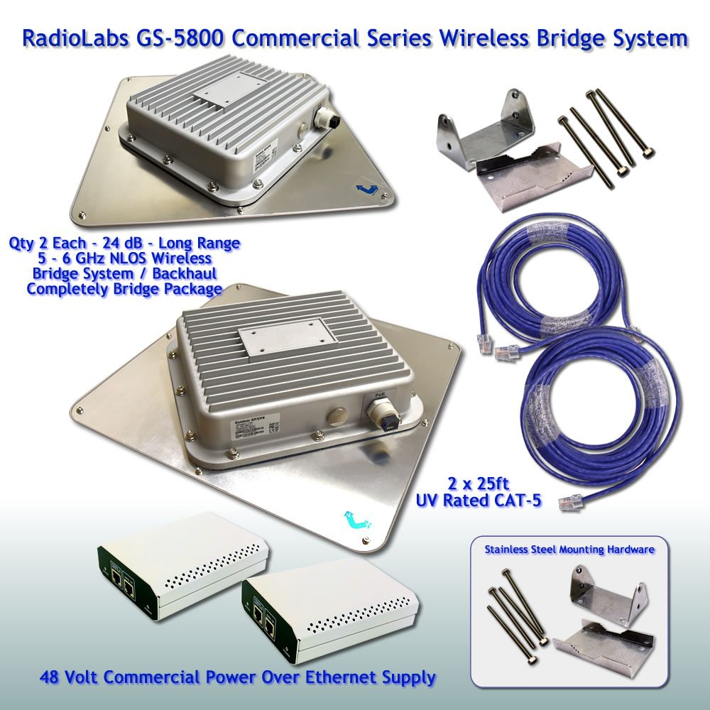 Wireless Bridge - 5.8 GHz - 5-6 GHz - NLOS High Power - Long Range Bridging