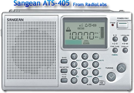 Sangean ATS-405 Worldband Receiver - AM/FM/SW Portable