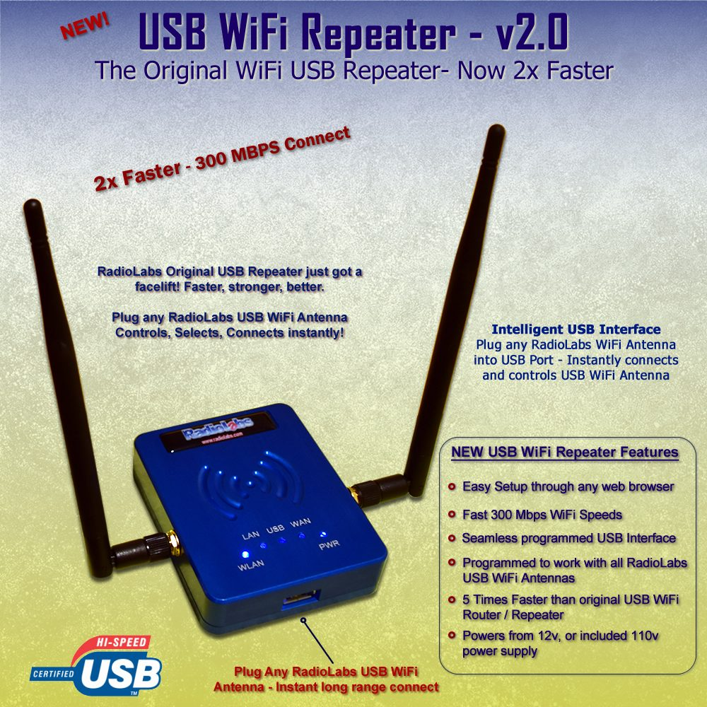 WiFi Antenna - USB Repeater for RV or Marine Antennas