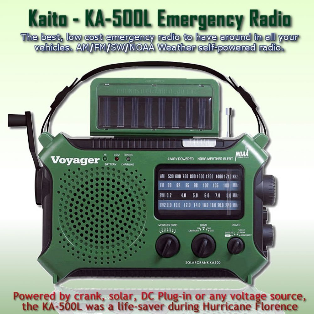 Kaito KA-500L Emergency Portable Radio - solar - wind-up