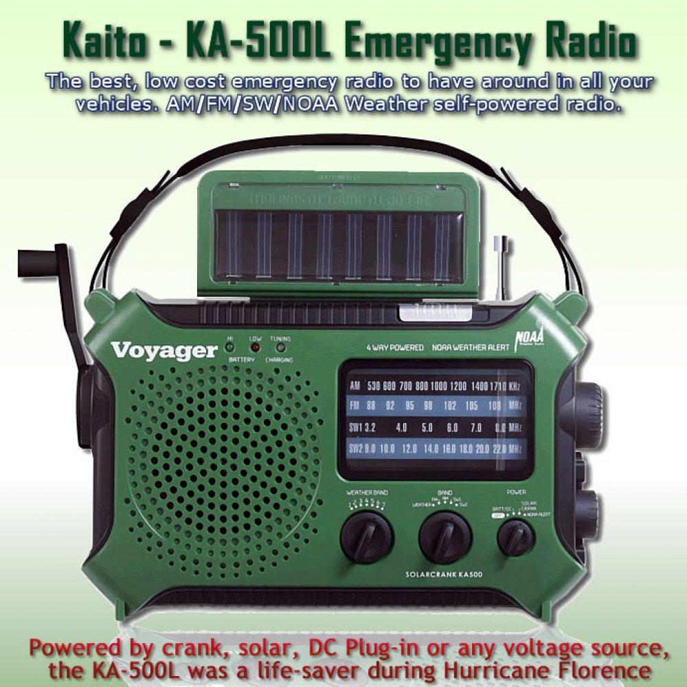 Kaito KA-500L Emergency Portable Radio - solar - wind-up