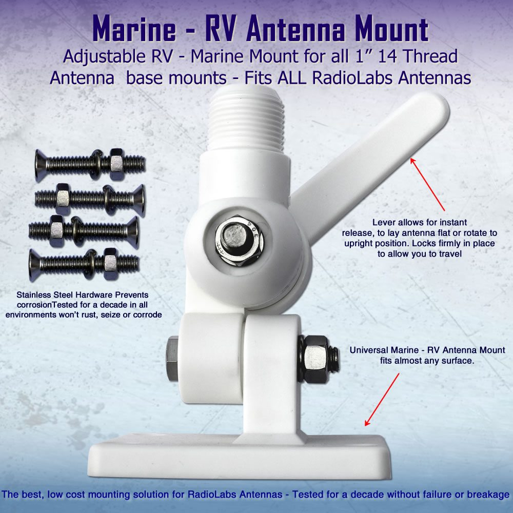 Marine Antenna Mount - Strong Ratchet style WiFi antenna mounting system