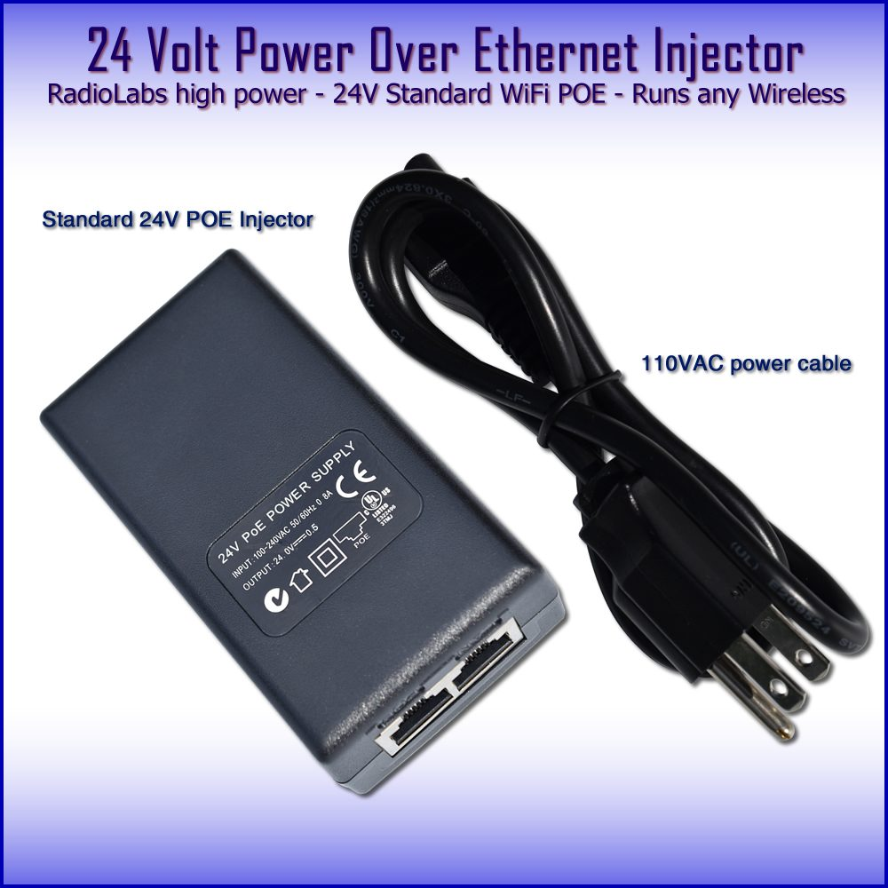 24 volt Power Over Ethernet Injector POE 24v