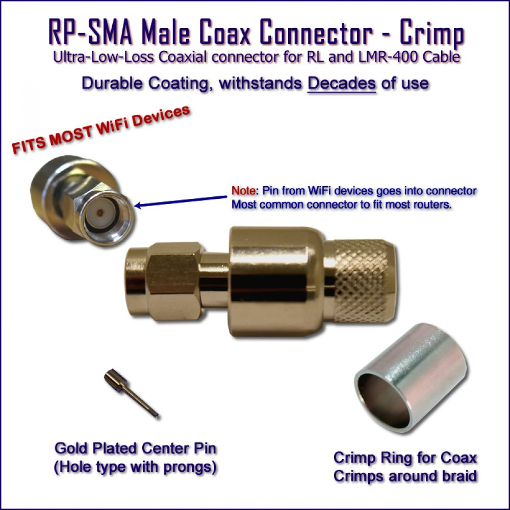 WiFi Connector - RP-SMA RL-LMR-400 Coax