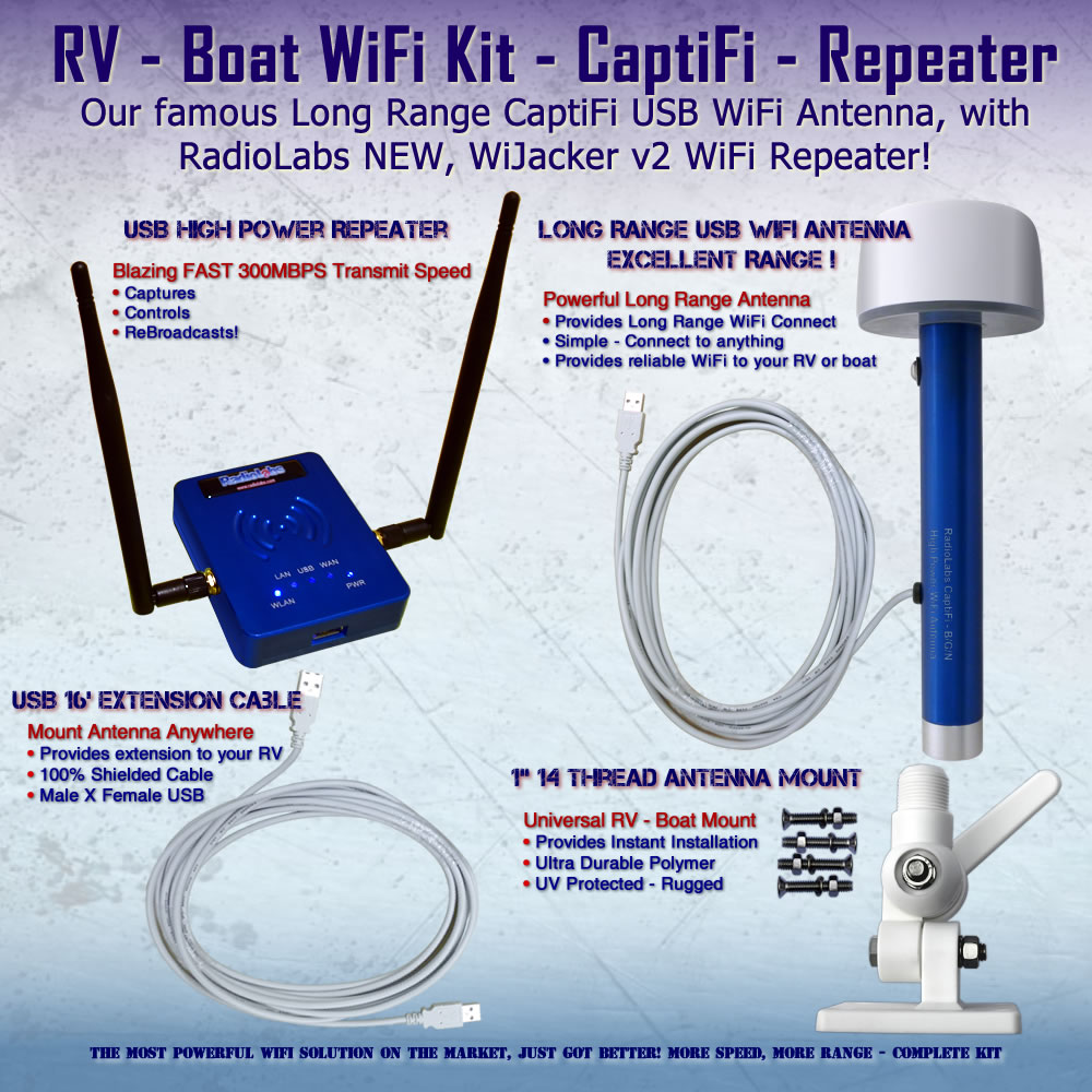 High Power Wifi Antenna Repeater System For Rv Boats Radiolabs