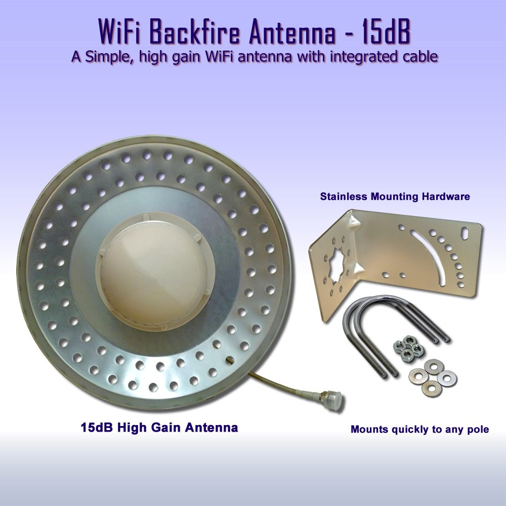 Wifi Backfire Antenna - Low cost, high gain 15dB