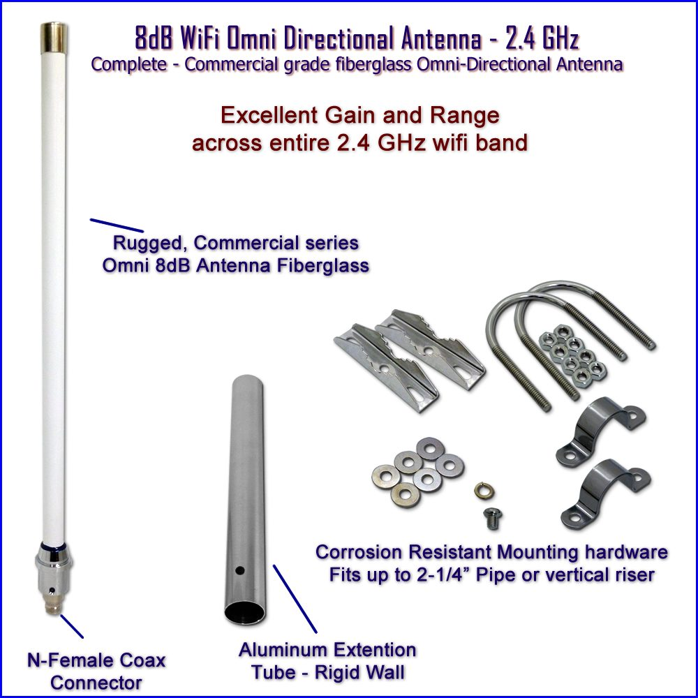 WiFi Omni 8dB Antenna - 2.4 Ghz Wireless Omni